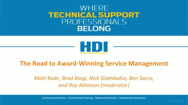 The Road to Award-Winning Service Management
