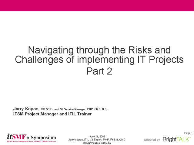 Navigating the Risks & Challenges of Implementing IT Projects Pt2