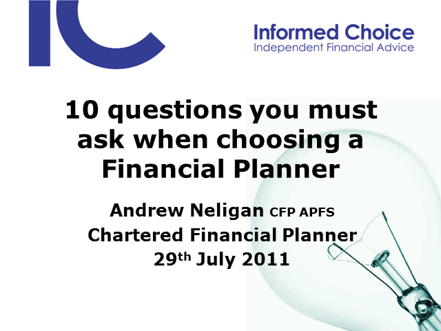 10 questions you must ask when choosing a Financial Planner