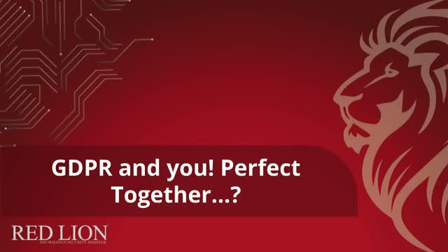 GDPR and you! Perfect together....?