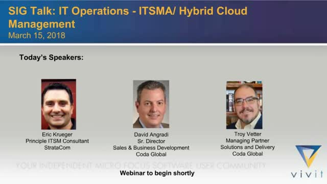 SIG Talk: IT Operations 1 - ITSMA/ Hybrid Cloud Management