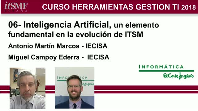 itSMF-CursoTools18: 06-Inteligencia Artificial fundamental en ITSM