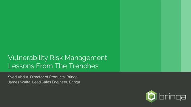 Vulnerability Risk Management - Lessons From the Trenches