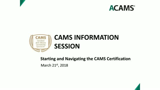 Starting and Navigating the CAMS Certification