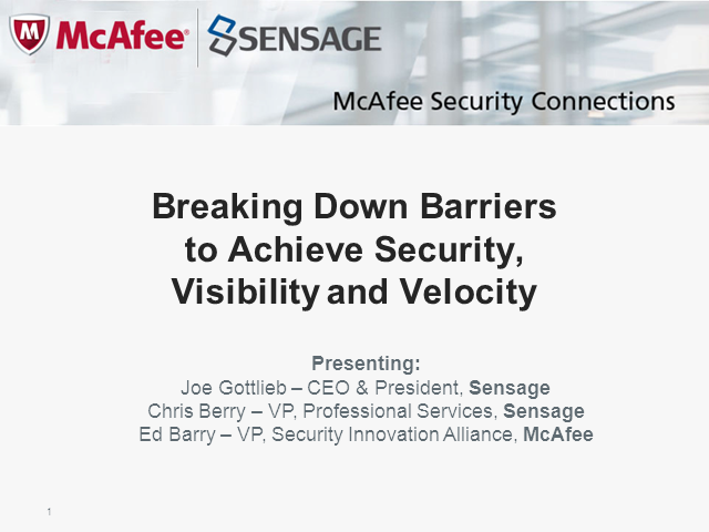 Breaking Down Barriers to Achieve Security, Visibility and Velocity