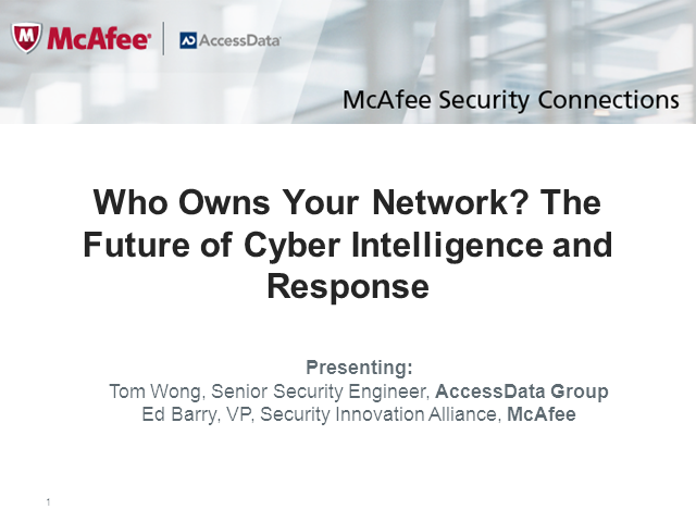 Who Owns Your Network? The Future of Cyber Intelligence & Respons