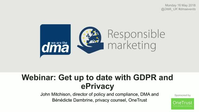 Webinar: Get up to date with GDPR and ePrivacy