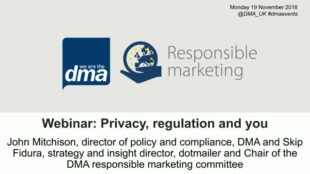 Webinar: Privacy, regulation and you