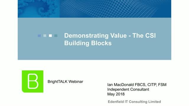 How to Demonstrate Value - The CSI Building Blocks
