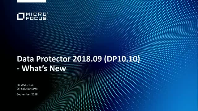 Data Protector zum Wochenstart: DP 10.10 Update Session
