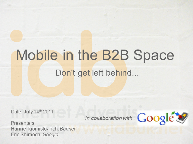 Mobile in the B2B Space - Don't Get Left Behind