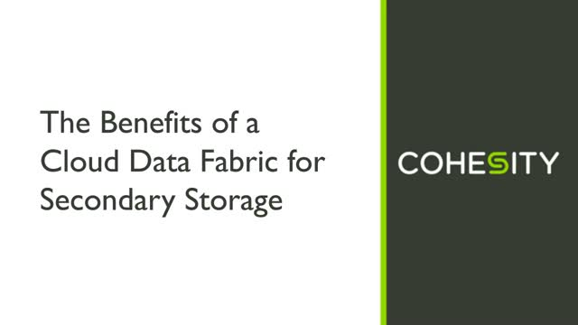 The Benefits of a Cloud Data Fabric for Secondary Storage