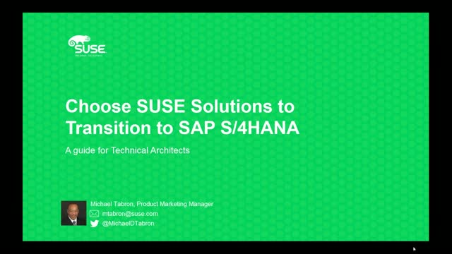 Choose SUSE Solutions to Transition to SAP S/4HANA