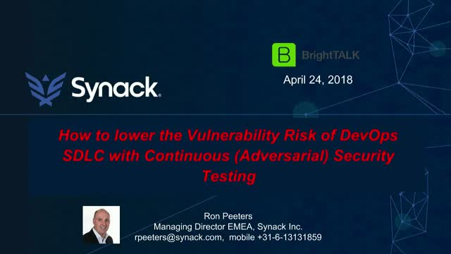 How to Lower Vulnerability Risk of DevOps SDLC  w/ Continuous Security Testing