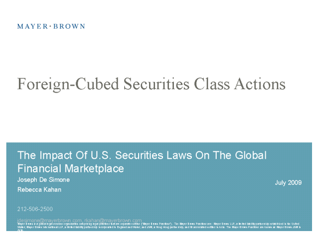 Foreign-Cubed Securities Actions: What? Why? Here to Stay?