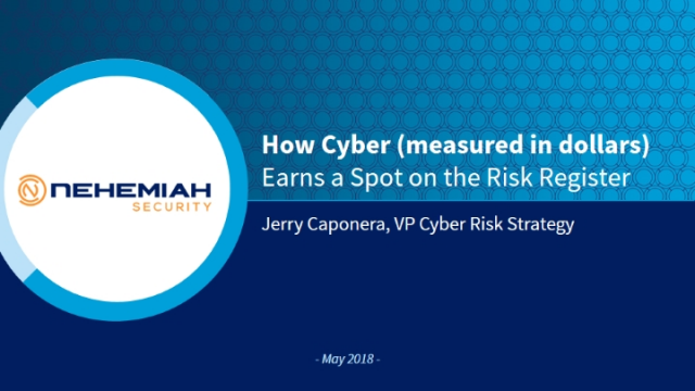 How Cyber (measured in dollars) Earns a Spot on the Risk Register