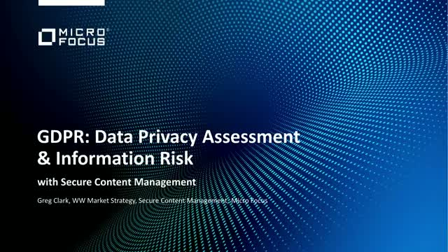 GDPR: Data Privacy Assessment and Information Risk