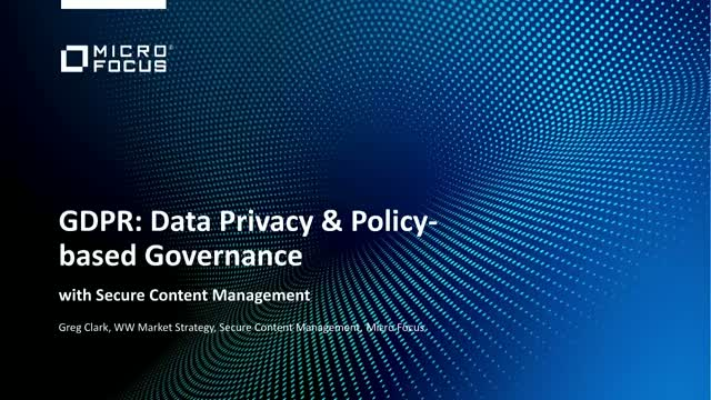 GDPR: Use Case: Data Privacy and Policy Based Governance