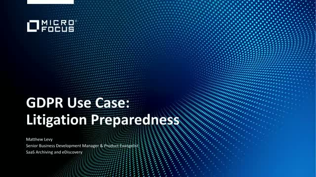 GDPR Use Case: Litigation Preparedness