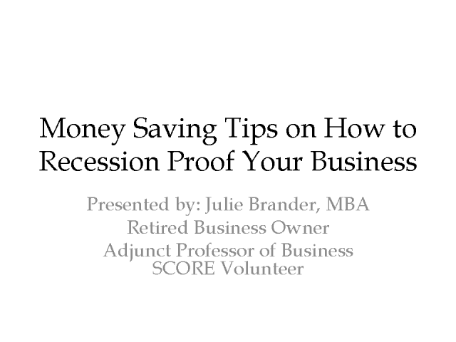 Money Saving Tips on How to Recession Proof your Business