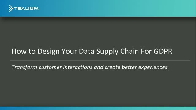 How to Design your Data Supply Chain for GDPR