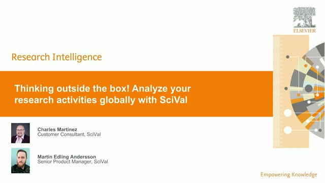 Thinking outside the box!  Analyze your research activities globally with SciVal