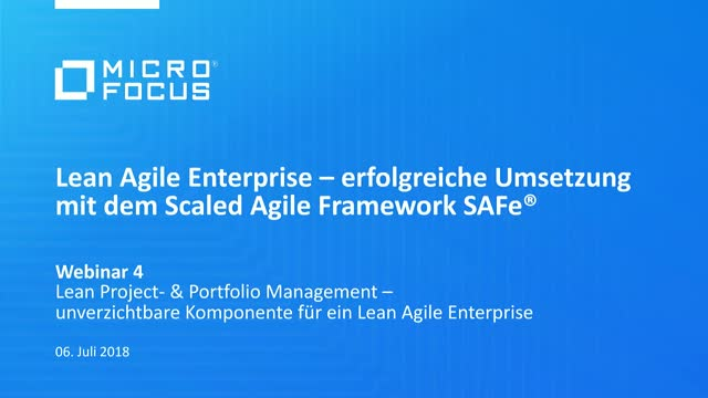 Webinarreihe Lean Agile Enterprise: 4 - Lean Project- & Portfolio Management