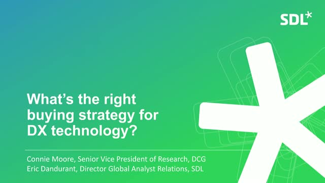 Research - What's the right buying strategy for DX technology?