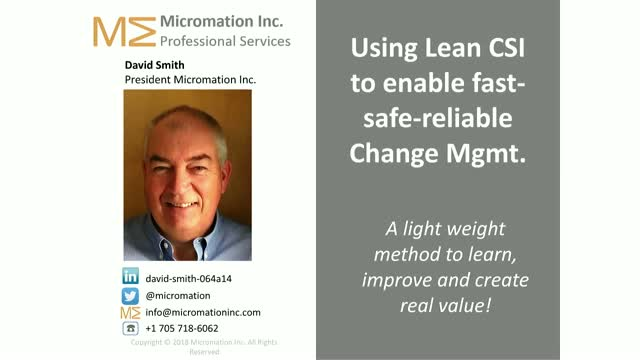Using Lean CSI to enable fast-safe-reliable Change Management