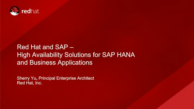 High Availability Solutions for SAP Business Applications and HANA