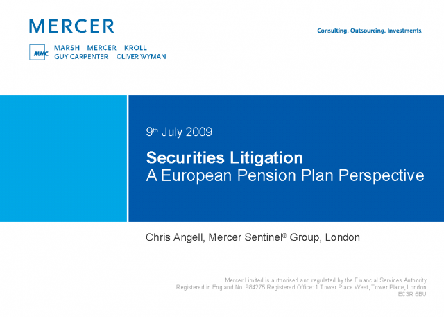 Securities Litigation - A European Pension Plan Perspective