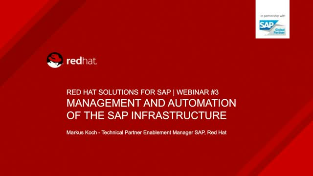 Management and Automation of the SAP Infrastructure