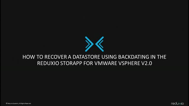 How to recover a Datastore for VMWare vSphere V2.0