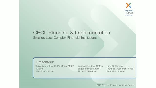 CECL Planning & Implementation: Smaller, Less Complex Financial Institutions