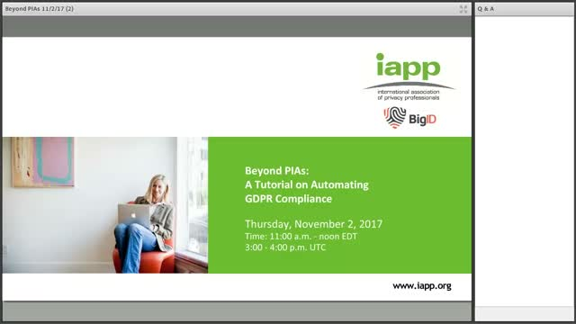 A Tutorial On Automating GDPR Compliance - BigID IAPP Webinar