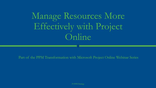 Manage resources more effectively with Project Online