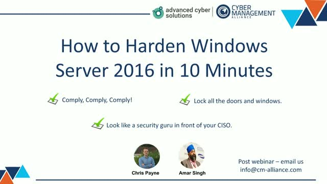 Live Demo Hardening Windows Server 2016 in Just 10 Minutes