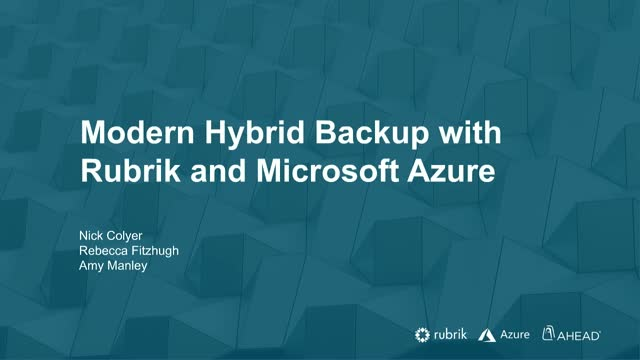 Modern Hybrid Cloud Backup with Rubrik and Microsoft Azure