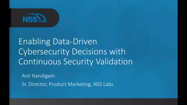Enabling data-driven cybersecurity decisions with continuous security validation