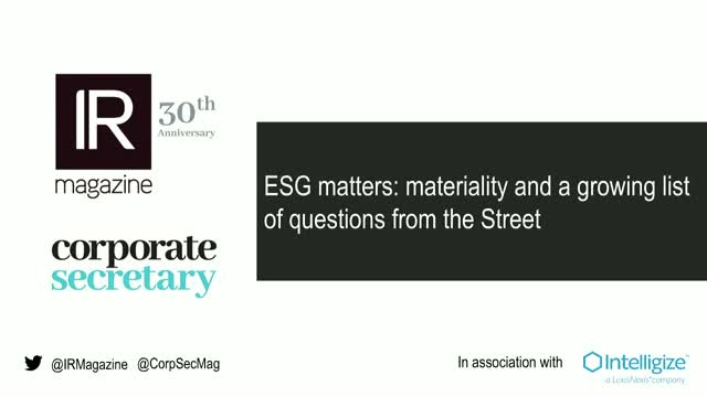 Webinar - ESG matters: materiality and a growing list of questions