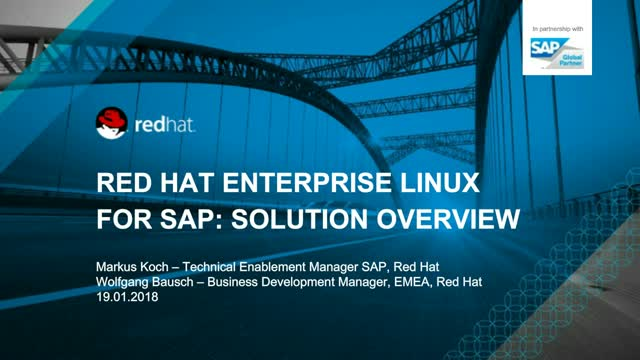 Red Hat Enterprise Linux for SAP: Solution Overview