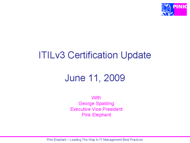 ITIL V3 Certification Update:  Can We Talk?