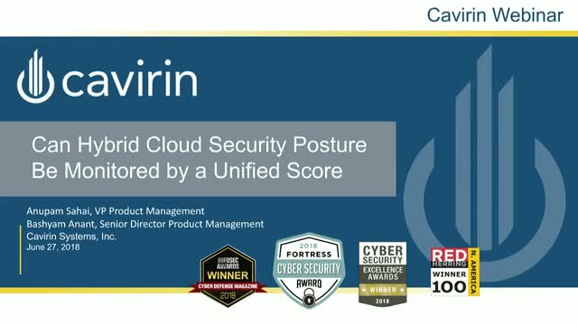 "Can Hybrid Cloud Security Posture be Monitored by a ""Credit Rating Like"" Score"