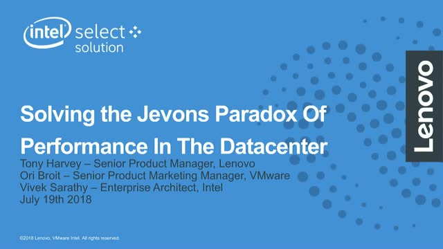 Solving the Jevons Paradox of Performance with Lenovo and Intel Optane