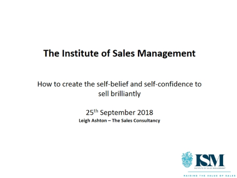 How to create the self belief and self confidence to sell brilliantly