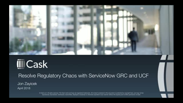 Lighten Your Compliance Burden using ServiceNow GRC and the Unified Compliance F