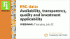 ESG data: availability, transparency, quality and investment applicability