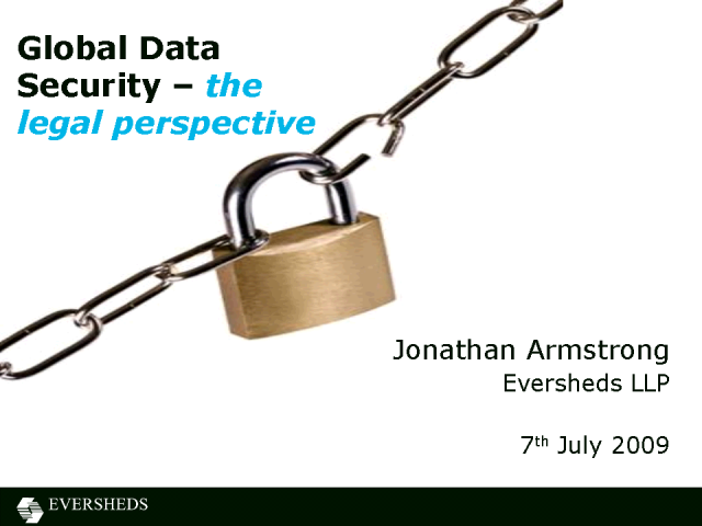 Global Data Security - the Legal Perspective