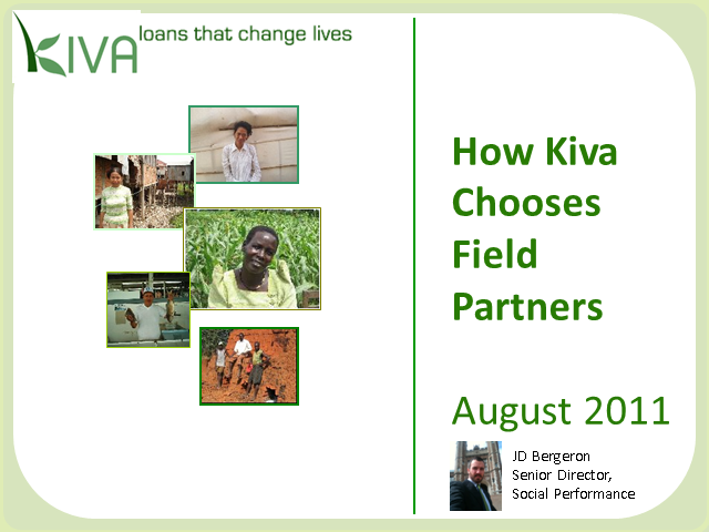 How Kiva Chooses its Field Partners