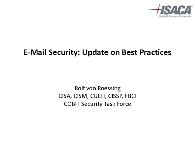 E-mail Security: Update on Best Practices
